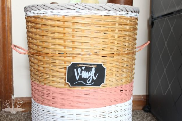 DIY Storage Baskets - DIY Vinyl Storage Basket - Cheap and Easy Ideas for Getting Organized - Creative Home Decor on A Budget - Farmhouse, Modern and Rustic Basket Projects