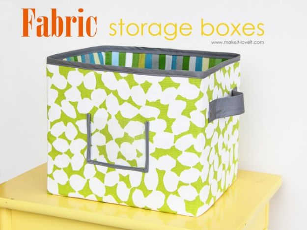 DIY Storage Baskets - Fabric Storage Boxes - Cheap and Easy Ideas for Getting Organized - Creative Home Decor on A Budget - Farmhouse, Modern and Rustic Basket Projects