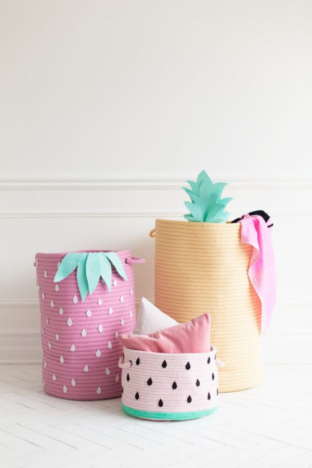 DIY Storage Baskets - Fruit Inspired Storage Baskets - Cheap and Easy Ideas for Getting Organized - Creative Home Decor on A Budget - Farmhouse, Modern and Rustic Basket Projects