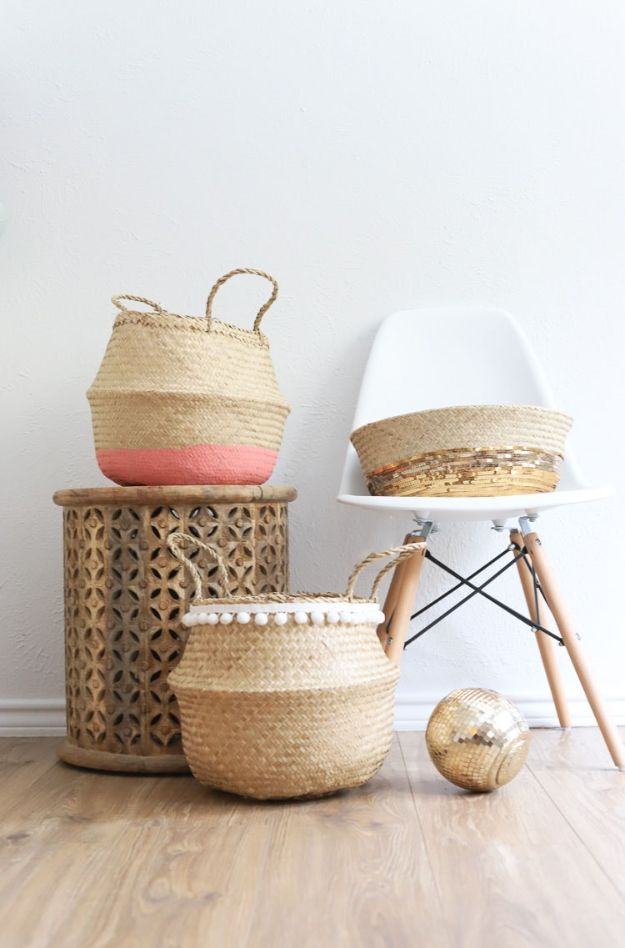 DIY Storage Baskets - Ikea Hack Wicker Storage Basket - Cheap and Easy Ideas for Getting Organized - Creative Home Decor on A Budget - Farmhouse, Modern and Rustic Basket Projects