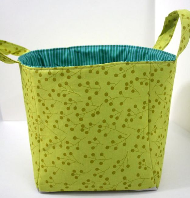 DIY Storage Baskets - Nested Fabric Buckets - Cheap and Easy Ideas for Getting Organized - Creative Home Decor on A Budget - Farmhouse, Modern and Rustic Basket Projects