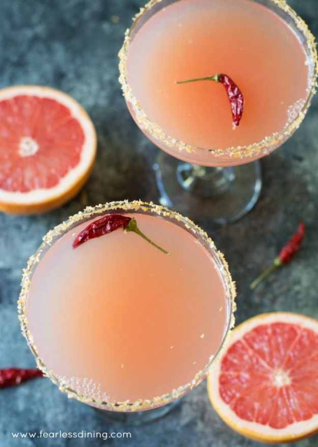 Margarita Recipes - Pink Grapefruit Margaritas with Sriracha Salt - Drink Recipes for a Party - Recipe Ideas for Blender Margaritas - Lime, Strawberry, Fruit | Easy Drinks With Tequila