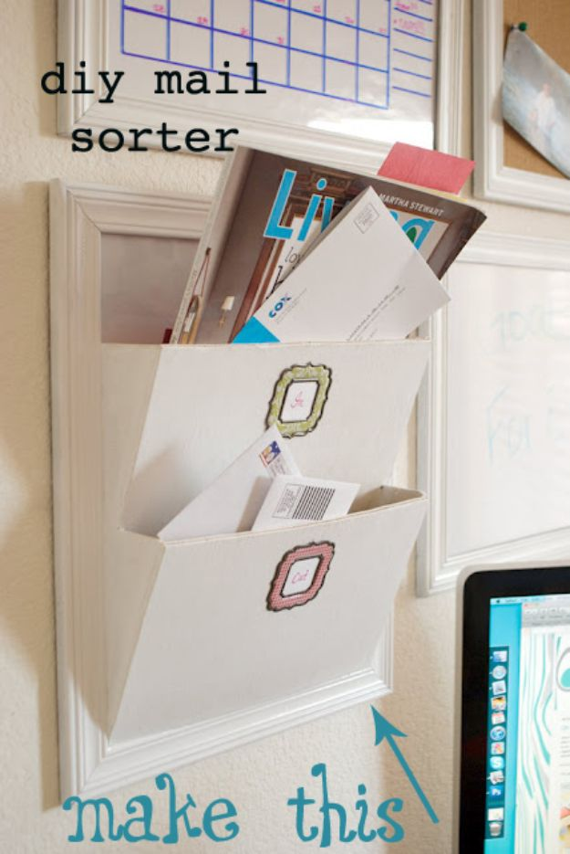 DIY Mail Organizers - Pottery Barn Knock Off Mail Sorter - Cheap and Easy Ideas for Getting Organized - Creative Home Decor on A Budget - Farmhouse, Modern and Rustic Mail Sorter, Organizer