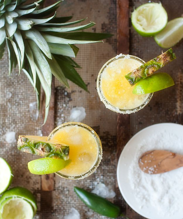 Margarita Recipes - Spicy Pineapple Margaritas - Drink Recipes for a Party - Recipe Ideas for Blender Margaritas - Lime, Strawberry, Fruit | Easy Drinks With Tequila