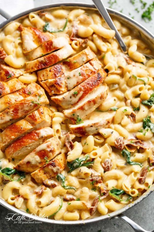 Mac and Cheese Recipes | Tuscan Chicken Mac and Cheese - Easy Recipe Ideas for Macaroni and Cheese - Quick Side Dishes