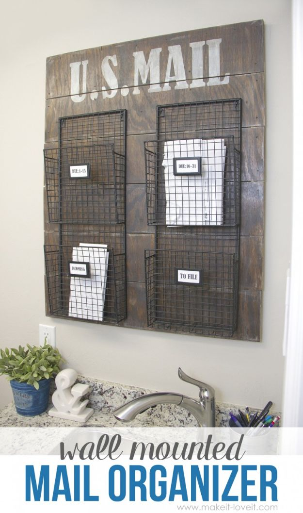 DIY Mail Organizers - Wall Mounted Mail Organizer - Cheap and Easy Ideas for Getting Organized - Creative Home Decor on A Budget - Farmhouse, Modern and Rustic Mail Sorter, Organizer