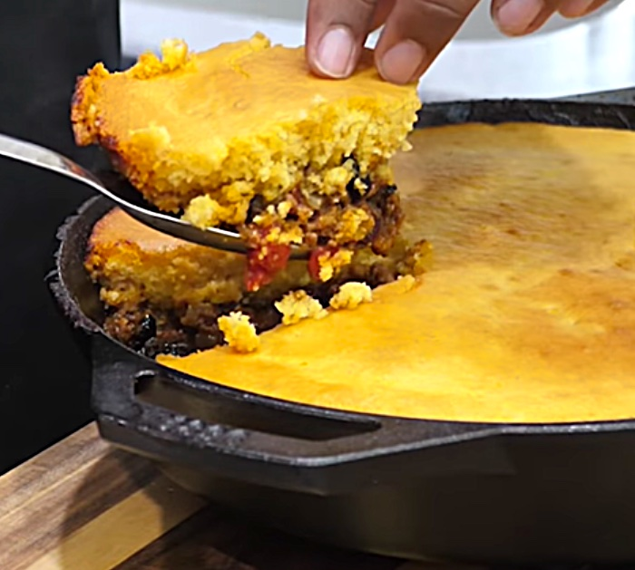 Try making a quick easy chili cornbread pie for the family dinner tonight