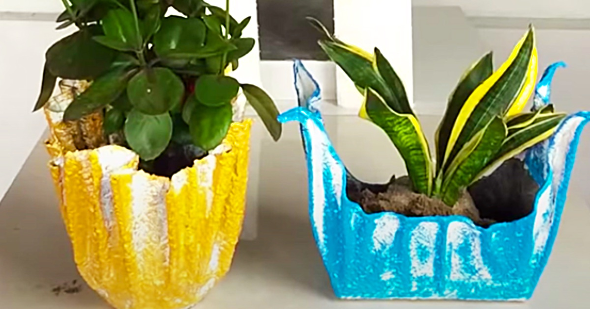 make flower pots from cement and towels
