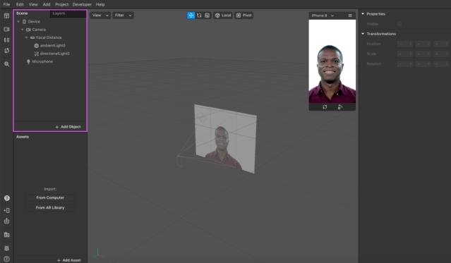 Screenshot of Spark AR interface