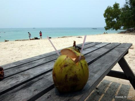 Buko Juice at Pulau Mamutik, Kota Kinabalu