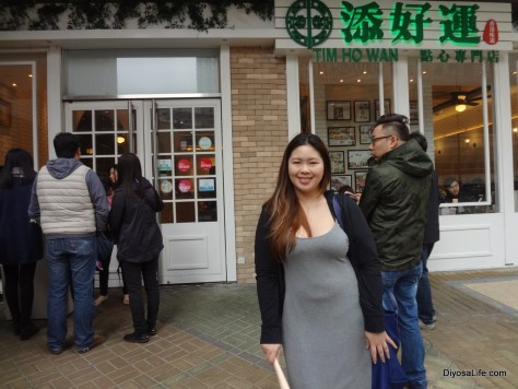 Ria outside of Tim Ho Wan Hong Kong
