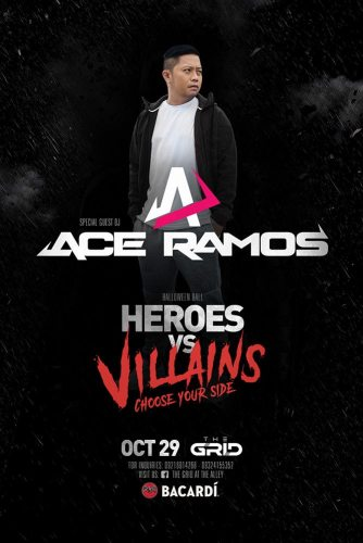Heroes vs Villain Bacardi Halloween 2016 Party at The Grid with Ace Ramos