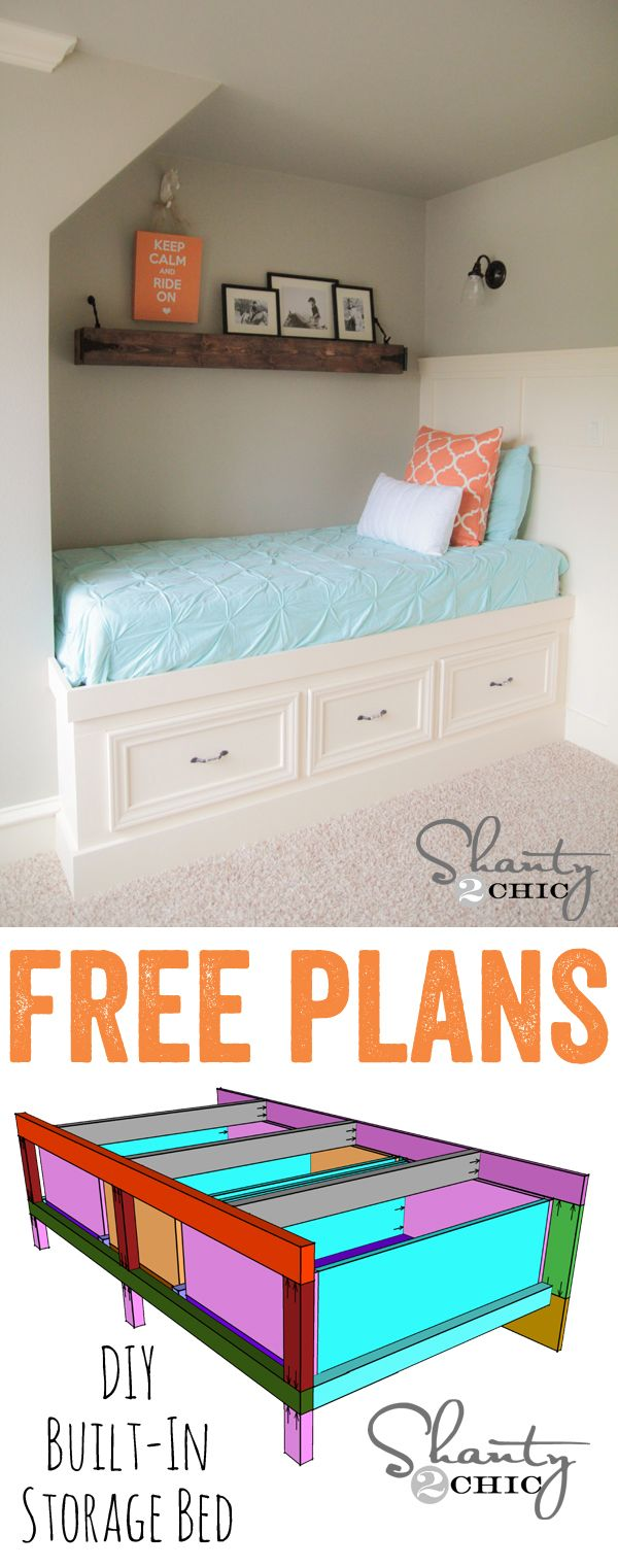 Diy Furniture I Diy Storage Bed I Love These Colors Too