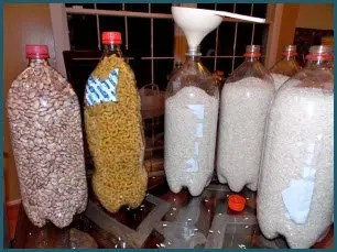 Cleaned out soda bottles can store all kinds of dry food.