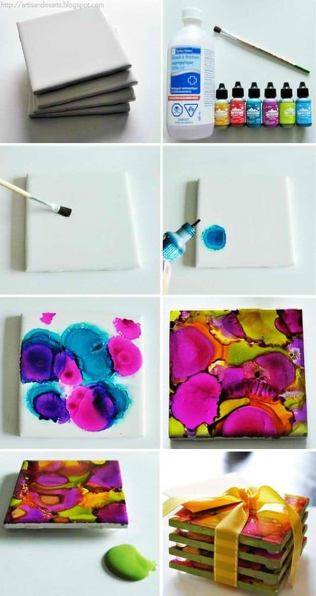 Alcohol Ink Coasters | Easy Crafts To Make And Sell