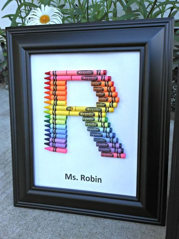 Crayon Monogram | DIY Teacher Gifts To Ring In The New School Year