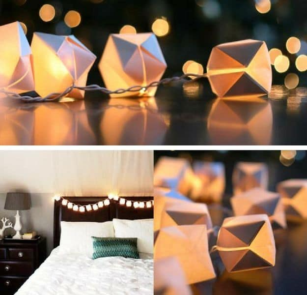 Bedroom String Lights With Origami Paper Lanterns | DIY Teen Room Decor Projects