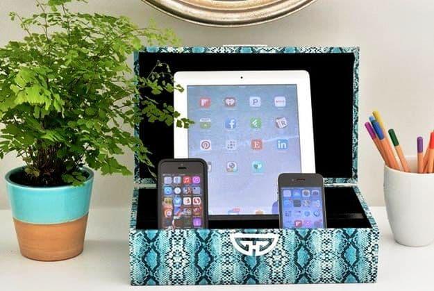 DIY Decorative Box Charging Station | DIY Teen Room Decor Projects