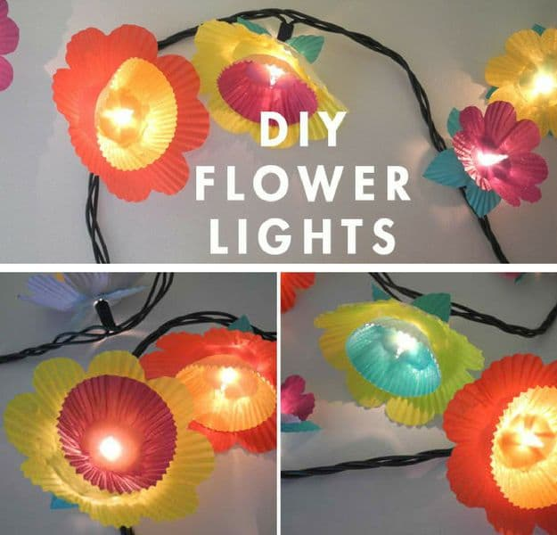 DIY Flower Lights | DIY Teen Room Decor Projects