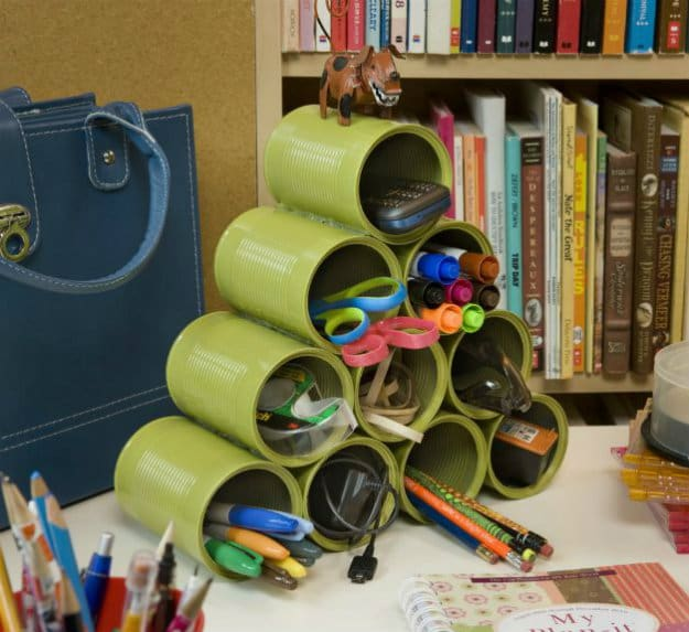 Stack Up Empty Cans | Nifty DIY Desk Organizer Ideas To Keep You Productive