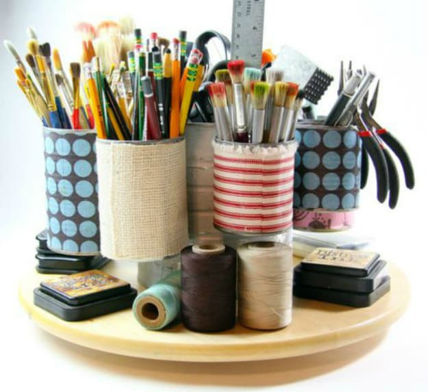 Tin Can Caddy | Nifty DIY Desk Organizer Ideas To Keep You Productive