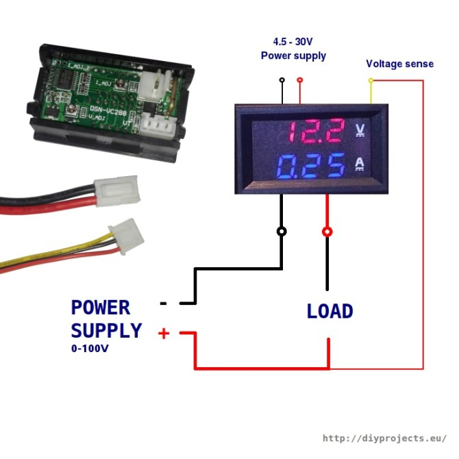 how to wire digital dual display volt and ammeter  diy