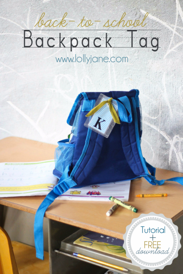 DIY School Supplies You Need For Back To School - Back To School Backpack Tag - Cuter, Cool and Easy Projects for Teens, Tweens and Kids to Make for Middle School and High School. Fun Ideas for Backpacks, Pencils, Notebooks, Organizers, Binders http://diyprojectsforteens.com/diy-school-supplies
