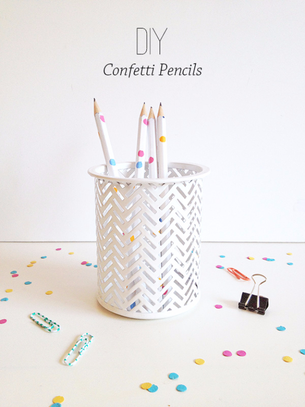 DIY School Supplies You Need For Back To School - DIY Confetti Pencils - Cuter, Cool and Easy Projects for Teens, Tweens and Kids to Make for Middle School and High School. Fun Ideas for Backpacks, Pencils, Notebooks, Organizers, Binders http://diyprojectsforteens.com/diy-school-supplies