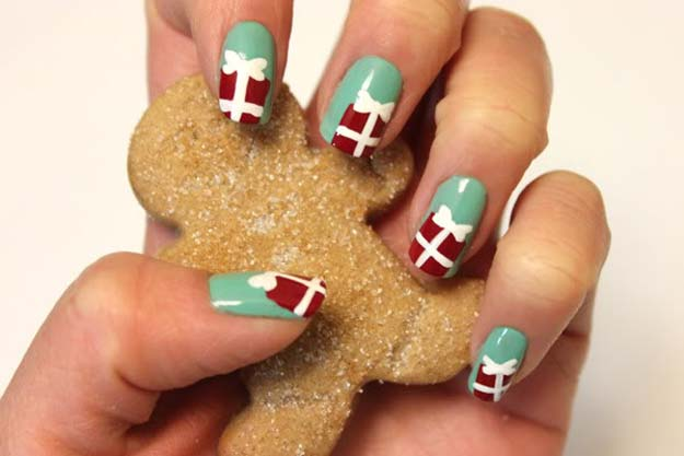 Cool Diy Nail Art Designs And Patterns For Christmas Holidays Gift Box Nails