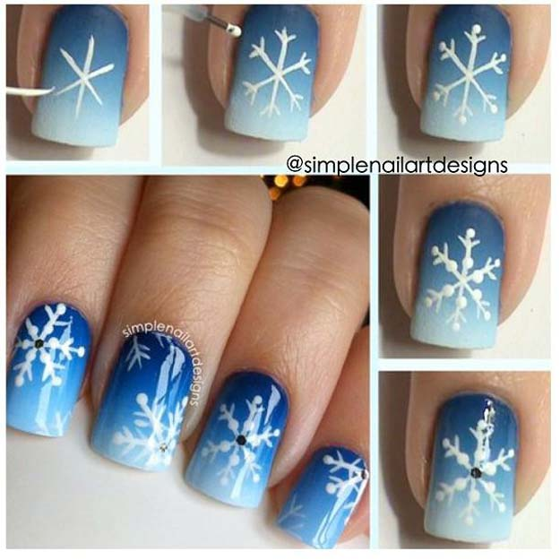 Cool Diy Nail Art Designs And Patterns For Christmas Holidays Snowflake