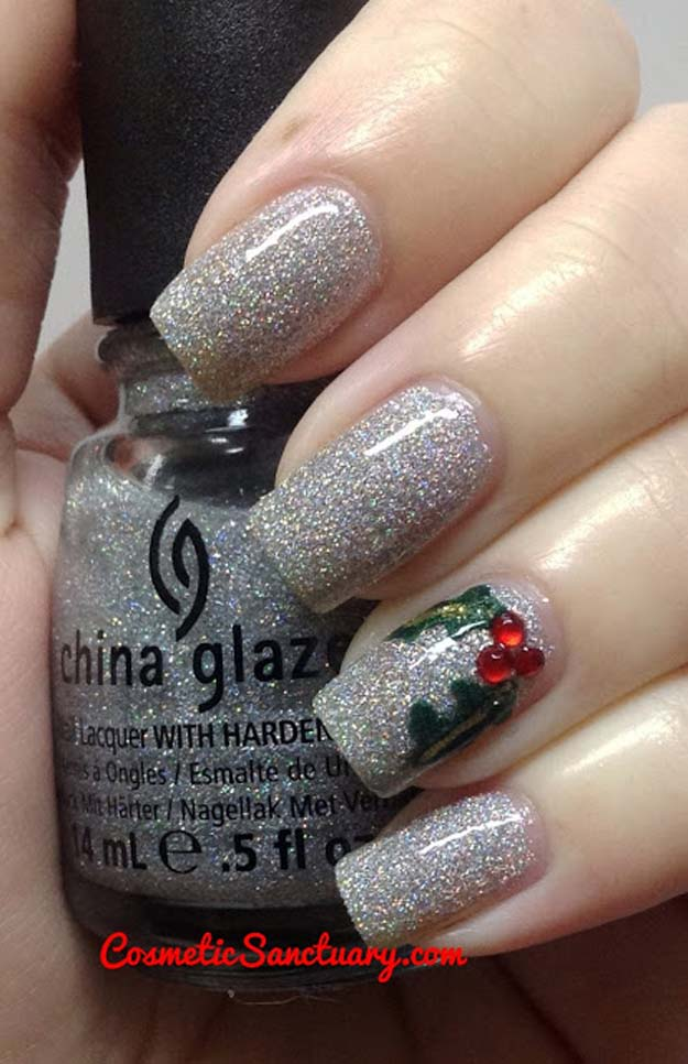 Cool Diy Nail Art Designs And Patterns For Christmas Holidays Sliver Glitter Nails