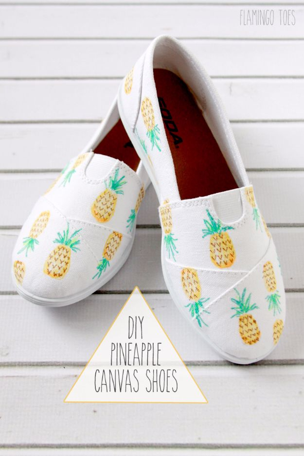 Cool Summer Fashions for Teens - DIY Pineapple Canvas Shoes - Easy Sewing Projects and No Sew Crafts for Fun Fashion for Teenagers - DIY Clothes, Shoes and Accessories for Summertime Looks - Cheap and Creative Ways to Dress on A Budget http://diyprojectsforteens.com/diy-summer-fashion-teens