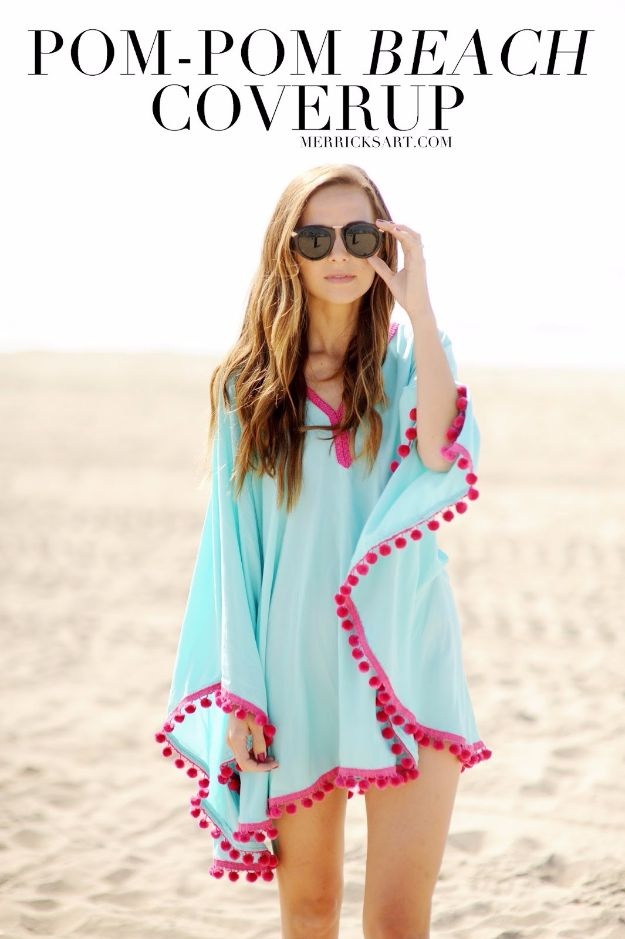 Cool Summer Fashions for Teens - DIY Pom Pom Beach Cover Up - Easy Sewing Projects and No Sew Crafts for Fun Fashion for Teenagers - DIY Clothes, Shoes and Accessories for Summertime Looks - Cheap and Creative Ways to Dress on A Budget http://diyprojectsforteens.com/diy-summer-fashion-teens
