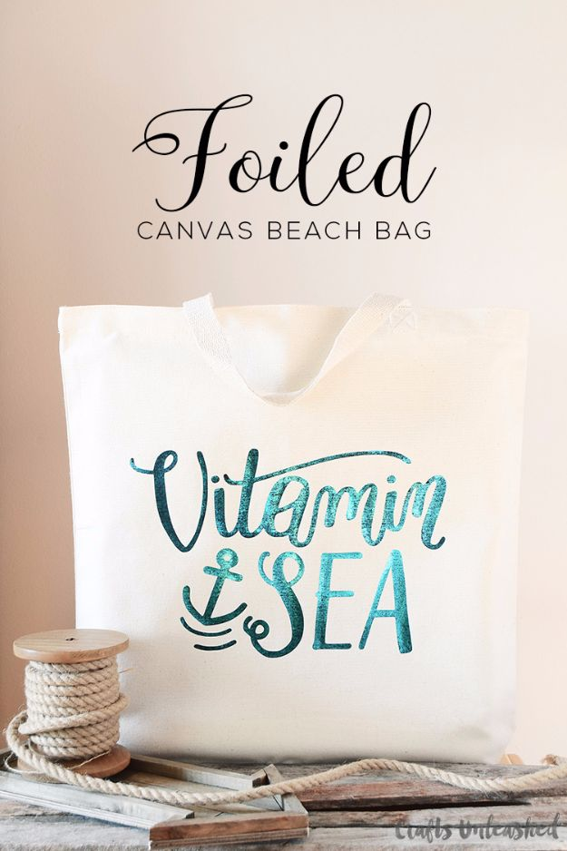 Cool Summer Fashions for Teens - Foiled Canvas DIY Beach Bag - Easy Sewing Projects and No Sew Crafts for Fun Fashion for Teenagers - DIY Clothes, Shoes and Accessories for Summertime Looks - Cheap and Creative Ways to Dress on A Budget http://diyprojectsforteens.com/diy-summer-fashion-teens