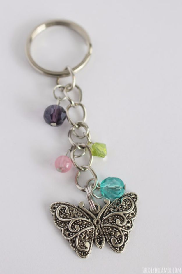 DIY Ideas With Butterflies - Butterfly Beaded Keychain - Cute and Easy DIY Projects for Butterfly Lovers - Wall and Home Decor Projects, Things To Make and Sell on Etsy - Quick Gifts to Make for Friends and Family - Homemade No Sew Projects- Fun Jewelry, Cool Clothes and Accessories #diyideas #butterflies #teencrafts