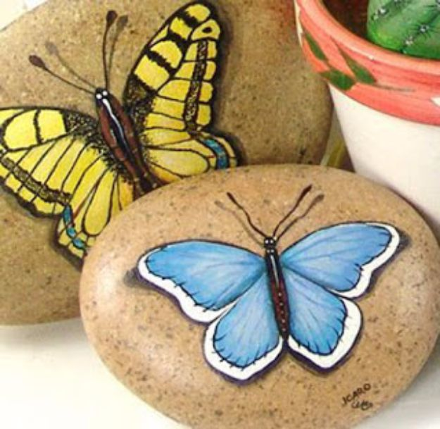 DIY Ideas With Butterflies - Butterfly Painted Stones - Cute and Easy DIY Projects for Butterfly Lovers - Wall and Home Decor Projects, Things To Make and Sell on Etsy - Quick Gifts to Make for Friends and Family - Homemade No Sew Projects- Fun Jewelry, Cool Clothes and Accessories #diyideas #butterflies #teencrafts