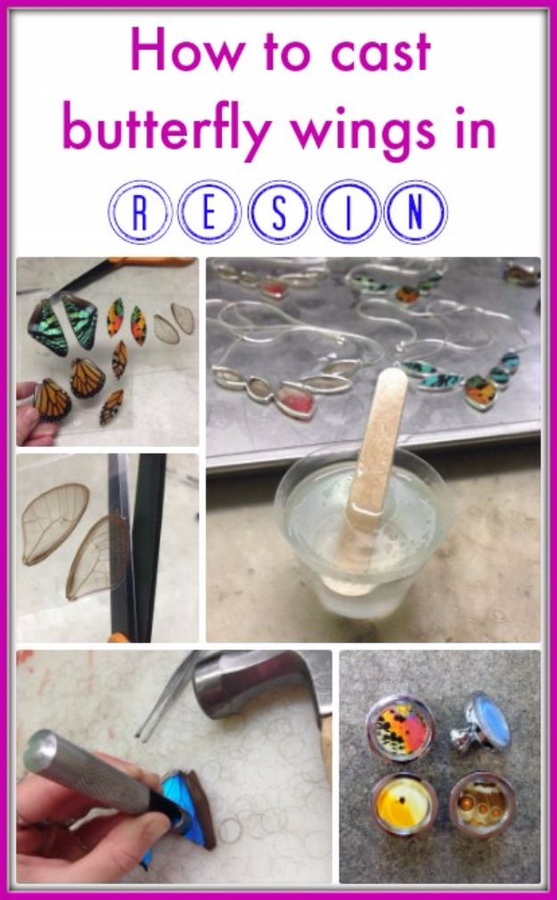 DIY Ideas With Butterflies - Cast Butterfly Wings In Resin - Cute and Easy DIY Projects for Butterfly Lovers - Wall and Home Decor Projects, Things To Make and Sell on Etsy - Quick Gifts to Make for Friends and Family - Homemade No Sew Projects- Fun Jewelry, Cool Clothes and Accessories #diyideas #butterflies #teencrafts