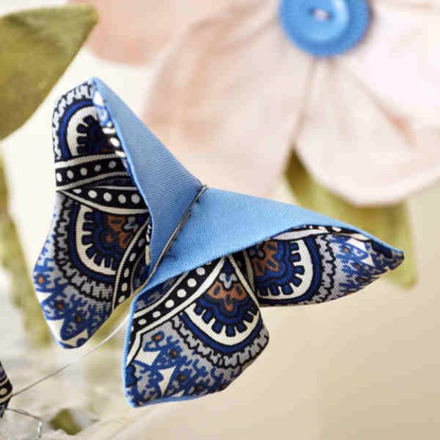 DIY Ideas With Butterflies - Fabric Origami Butterfly - Cute and Easy DIY Projects for Butterfly Lovers - Wall and Home Decor Projects, Things To Make and Sell on Etsy - Quick Gifts to Make for Friends and Family - Homemade No Sew Projects- Fun Jewelry, Cool Clothes and Accessories #diyideas #butterflies #teencrafts