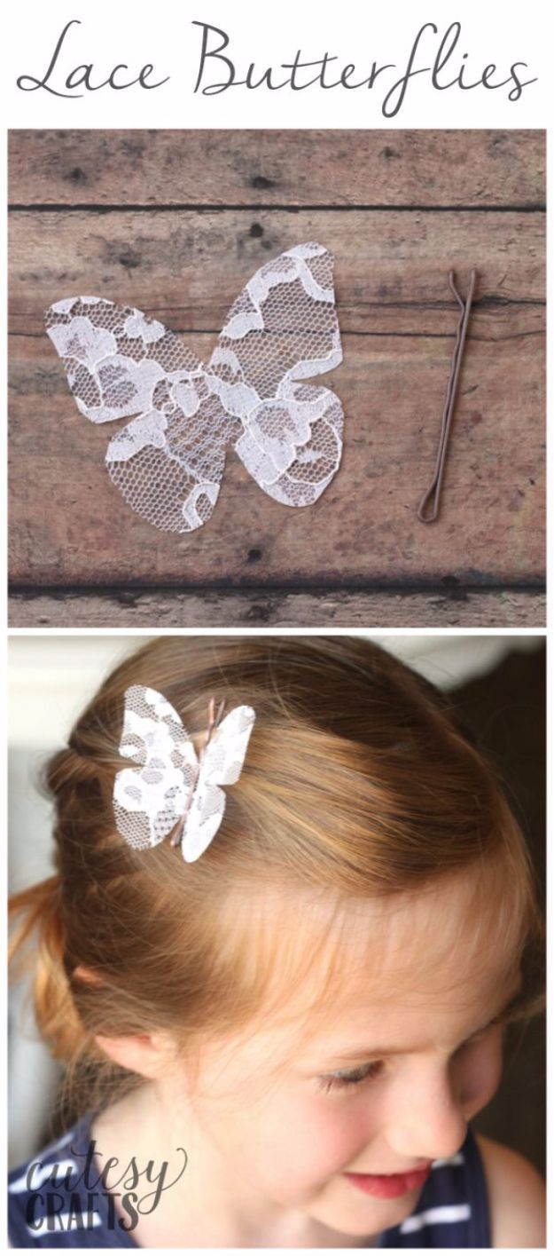 DIY Ideas With Butterflies - Lace Butterflies - Cute and Easy DIY Projects for Butterfly Lovers - Wall and Home Decor Projects, Things To Make and Sell on Etsy - Quick Gifts to Make for Friends and Family - Homemade No Sew Projects- Fun Jewelry, Cool Clothes and Accessories #diyideas #butterflies #teencrafts