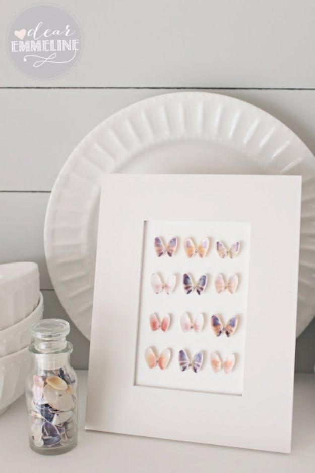 DIY Ideas With Butterflies - Seashell Specimen Art - Cute and Easy DIY Projects for Butterfly Lovers - Wall and Home Decor Projects, Things To Make and Sell on Etsy - Quick Gifts to Make for Friends and Family - Homemade No Sew Projects- Fun Jewelry, Cool Clothes and Accessories #diyideas #butterflies #teencrafts
