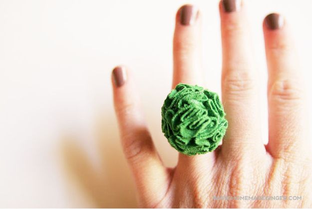DIY Ideas With Old T-shirts - DIY T-Shirt Flower Ring - Tshirt Makeovers and Transformation Ideas for Tee Shirts - DIY Clothes to Make On A Budgert - Creative and Easy Fashion Ideas for Teen Girls, Teenagers, Adults - Cut and Refashion Your Shirts With These Step by Step Tutorials #teencrafts #tshirtideas #diyclothes #fashion #crafts
