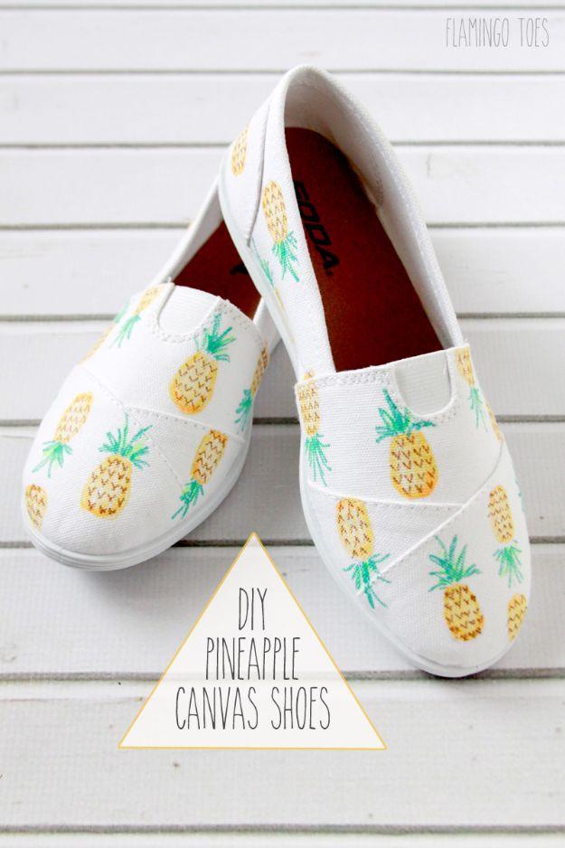 Ananas ambachten - DIY geschilderde ananas schoenen - leuke ambachtelijke projecten die coole DIY geschenken maken - Wall Decor, slaapkamer Art, sieraden idee