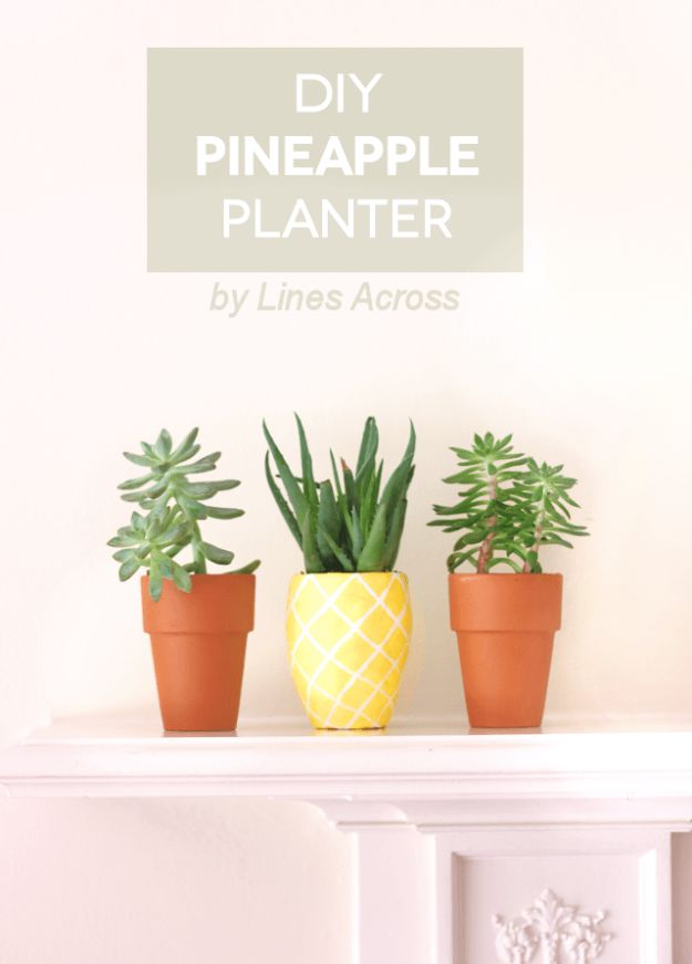 Pineapple Crafts - DIY Succulent Ananas Planter - Cute Craft Projects That Cool DIY Gifts - Wall Decor, Bedroom Art, Jewelry Idea