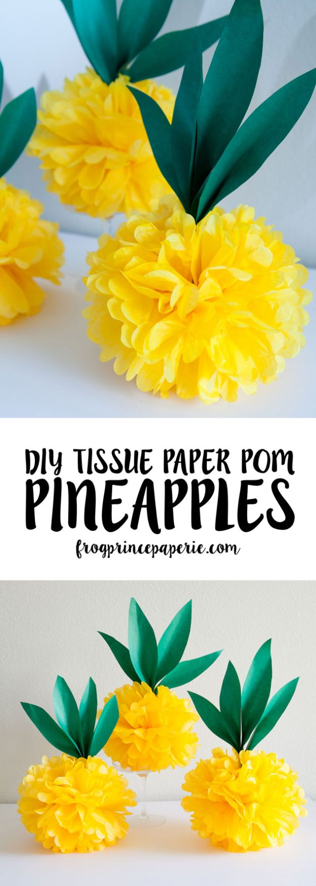 Pineapple Crafts - Luau Tissue Paper Pineapple Pouf - Cute Craft Projects That Cool DIY Gifts - Wall Decor, Bedroom Art, Jewelry Idea