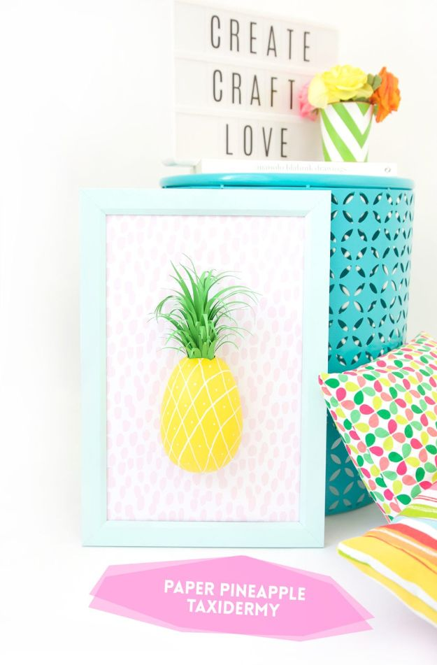 Ananas ambachten - papieren ananas taxidermie - leuke ambachtelijke projecten die coole DIY geschenken maken - Wall Decor, slaapkamer Art, sieraden idee