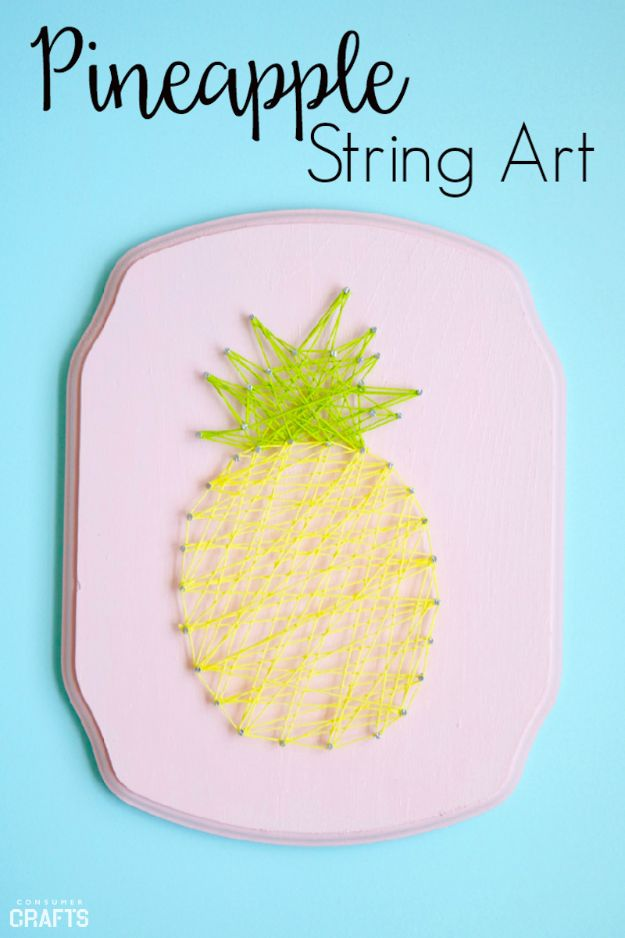 Pineapple Crafts - Pineapple String Art - Leuke knutselprojecten die coole doe-het-zelf geschenken maken - wanddecor, slaapkamerkunst, sieradenidee