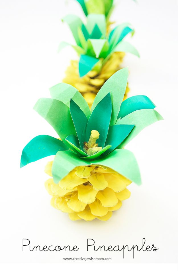 Ananasambachten - Pinecone Ananas - Leuke ambachtelijke projecten die coole DIY-geschenken maken - wanddecor, slaapkamerkunst, sieradenidee
