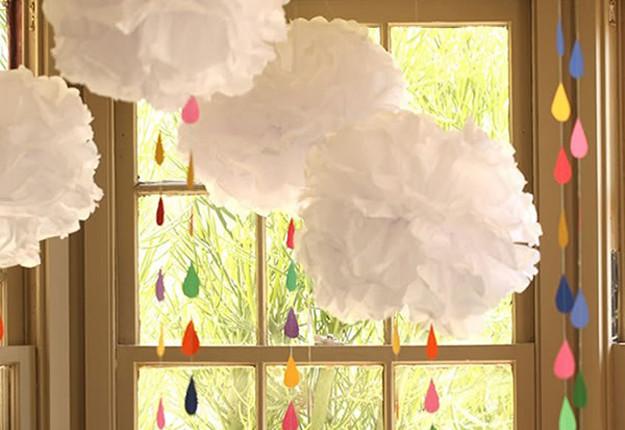 DIY Baby Shower Decoration Tissue Paper Rainbow DIY
