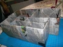 Alles mit Zeitung beklebt. Pappmaché