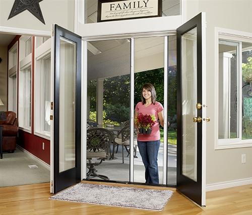 Custom double panel retractable screen door for Custom sliding screen doors